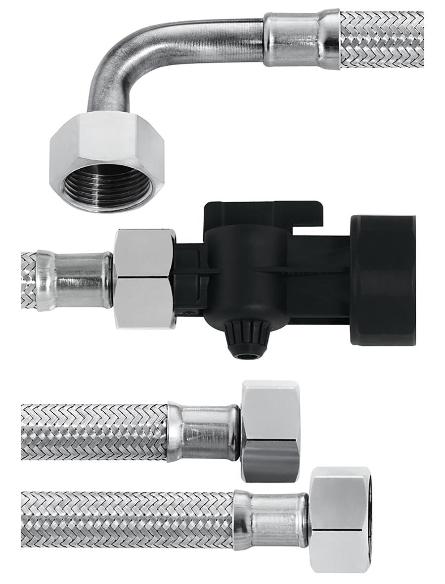 Комплект шлангов №3 (входной с запорным краном G1-G3/4 и выходной G3/4-G3/4 с коленом), 2 М, металл